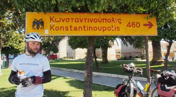 """The Greek still prefers to call it by its """"real"""" name, Konstantinoupolis. - - - - -  Arra felé megyünk. A görögök még mindig szeretik Isztambult az """"igazi"""" nevét hívni."""