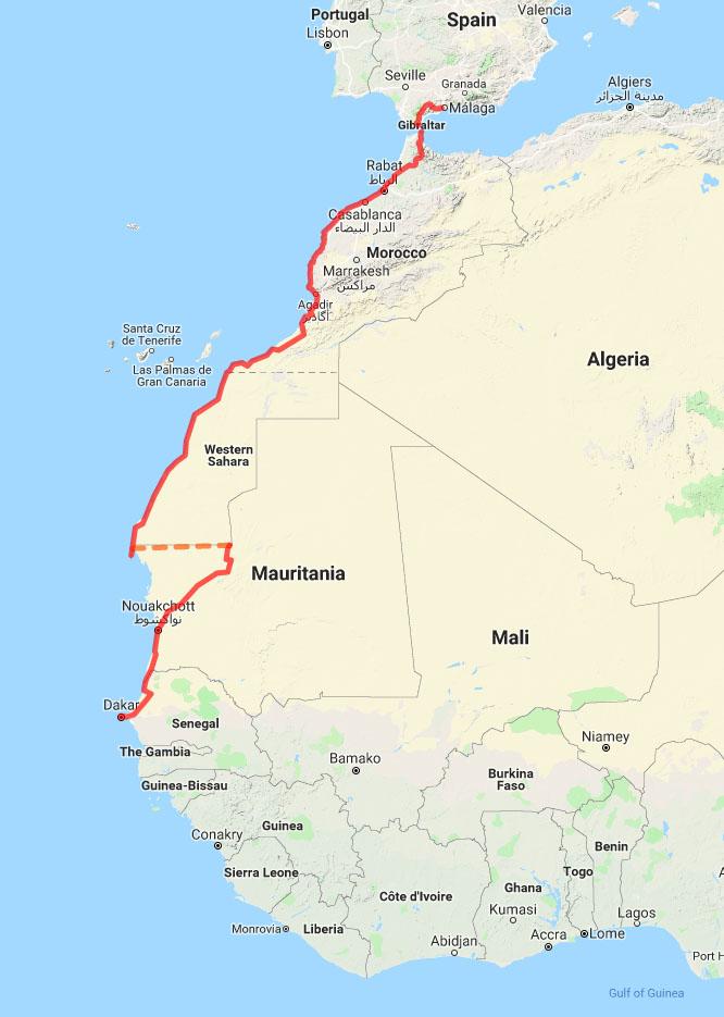Ortlieb-review_03_Malaga to Dakar 2019 Cycling Adventure map